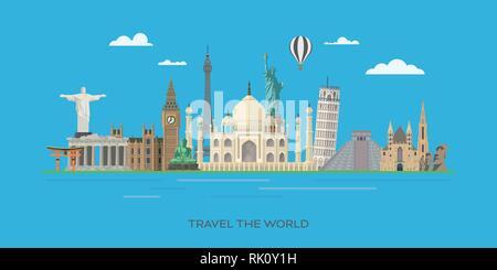 Travelling to world famous landmarks vector banner illustration - Stock Photo