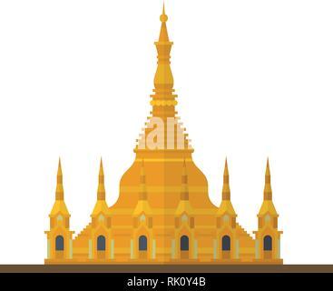 Flat design isolated vector icon of Shwedagon Pagoda, Yangon, Myanmar - Stock Photo