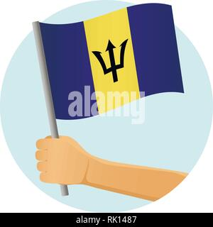 Barbados flag in hand. Patriotic background. National flag of Barbados vector illustration - Stock Photo