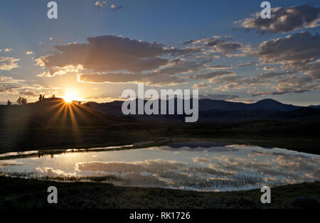 WY03367-00...WYOMING - The sun rising over a hill witht the clouds reflected in a small pond near the Lamar River in Yellowstone National Park. - Stock Photo
