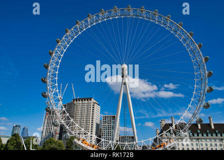 LONDON, UK - SEPTEMBER 9, 2018: Attraction, Oko review wheel on the banks of the Thames - Stock Photo