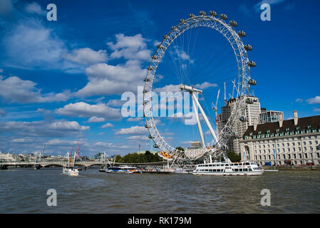 LONDON, UK - SEPTEMBER 9, 2018: Ferris wheel - London Eye, located in the Lambeth district on the south bank of the Thames. The largest in Europe and  - Stock Photo