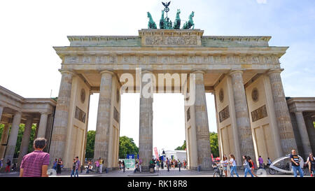 BERLIN, GERMANY - JUNE 21, 2017: Brandenburg gate (Brandenburger Tor) It's an 18th-century neoclassical triumphal arch in Berlin, one of the best-know - Stock Photo