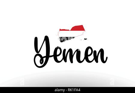 Yemen country big text with flag inside map suitable for a logo icon design - Stock Photo