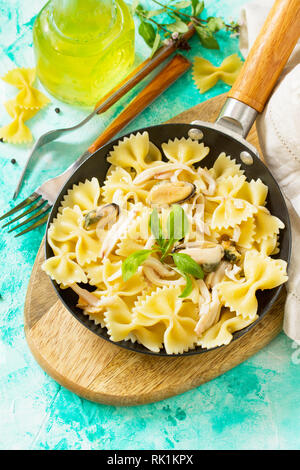 Pasta Farfalle with seafood on stone table. Vegetarian  seafood pasta. Diet menu. - Stock Photo