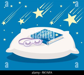 White sleeping pillow with blue Dream book and purple sleep mask. Falling yellow stars on blue background. Flat vector illustration. Dreaming concept. - Stock Photo