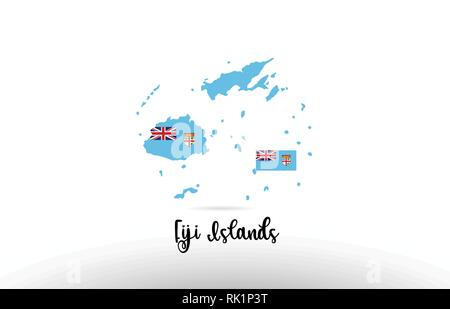 Fiji Islands country flag inside country border map design suitable for a logo icon design - Stock Photo