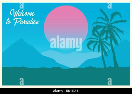 Tropical landscape. Postcard Welcome to paradise Summer background. Palm trees silhouette. Vector illustration.