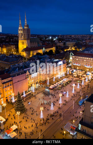 ZAGREB - The city main square with the statue of Ban Josip Jelačić and the cathedral seen from the 360 degrees observation deck.