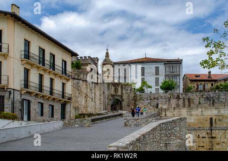 Hondarribia, Guipúzcoa, Spain, August 2013: Historical castle style stone made ancient entrance to the centre of the town of Hondarribia - Stock Photo