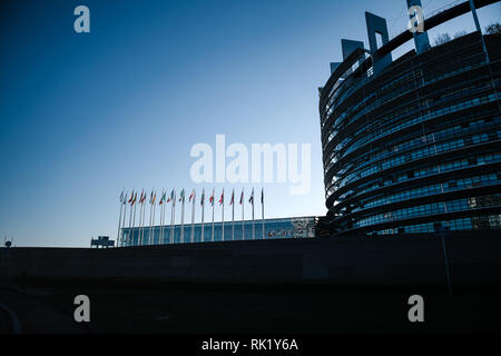 Silhouette of European Parliament building with all EU members state flags waving newsworthy image blue toned image for news - Stock Photo