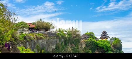 Uluwatu temple a pagoda perched on the cliffs of Bukit peninsula, Bali Indonesia. - Stock Photo