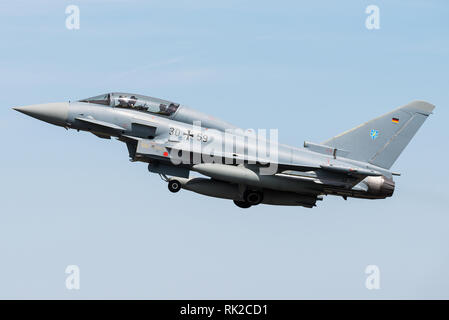 A Eurofighter Typhoon multirole fighter jet of the German Air Force. - Stock Photo