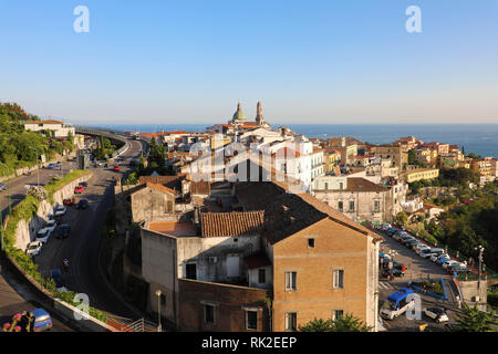 Panoramic view of Vietri sul Mare, the first town on the Amalfi Coast, with the Gulf of Salerno, province of Salerno, Campania, southern Italy - Stock Photo
