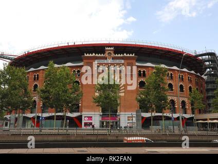 BARCELONA, SPAIN - JULY 13, 2018: Arenas de Barcelona is a shopping center inside the old plaza de toros bullring in Barcelona, Catalonia, Spain - Stock Photo