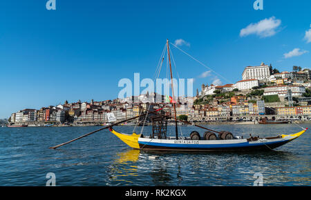 Rabelo boats, port wine boats on the Rio Douro - Stock Photo