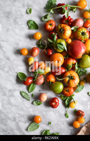 Fresh summer tomatoes and basil - Stock Photo