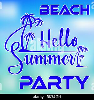 Hello Summer Beach Party typography with palm trees on island and blurred sea colored background for poster or flyer design - Stock Photo