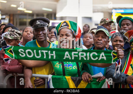 Johannesburg, South Africa, 20 September - 2016: South African supporters celebrating. - Stock Photo