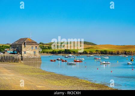 Boats on the Camel Estuary at Rock, Cornwall, UK - Stock Photo