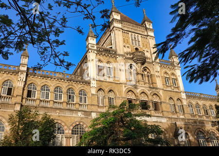 Partial view of colonial-era Elphinstone College in Kala Ghoda area, Fort, Mumbai - Stock Photo