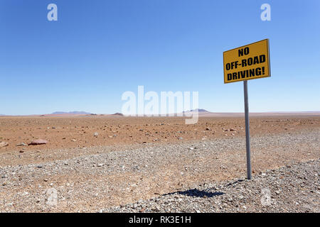 no off-road driving sign, Namibia - Stock Photo