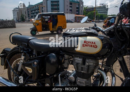 Royal Enfield motorbikes in Chennai, Southern India - Stock Photo