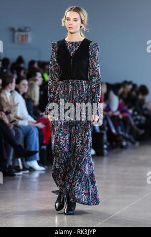 New York, New York, USA. 8th Feb, 2019. Models walk the runway for the Nonie fashion show during New York Fashion Week: The Shows at Gallery II at Spring Studios on February 8, 2019 in New York City. Credit: William Volcov/ZUMA Wire/Alamy Live News - Stock Photo