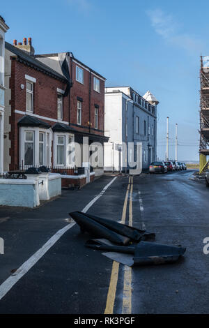 Blackpool UK, 9th February, 2019. Weather news. Storm Erik causes plenty of damage to the popular resort town, Roofs and hotel canopies bearing the brunt of the storm. Credit: gary telford/Alamy Live News - Stock Photo