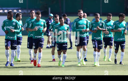 Sao Paulo, Brazil. 09th February, 2019.SÃO PAULO, SP - 09.02.2019: TREINO DO PALMEIRAS - SE Palmeiras players, during training, at the Football Academy. (Photo: Cesar Greco/Fotoarena) Credit: Foto Arena LTDA/Alamy Live News - Stock Photo