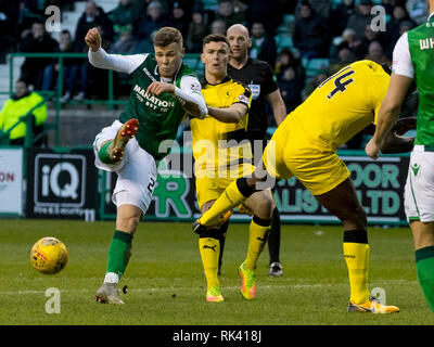 Easter Road, Edinburgh, UK. 9th Feb, 2019. Scottish Cup football fifth round, Hibernian versus Raith Rovers; Florian Kamberi of Hibernian miss kick in the box Credit: Action Plus Sports/Alamy Live News - Stock Photo