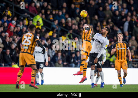 Derby, UK. 09th Feb, 2019. Jackson Irvine of Hull City beats Tom Huddlestone of Derby County to the ball during the EFL Sky Bet Championship match between Derby County and Hull City at the Pride Park Stadium, Derby, England on 9 February 2019. Photo by Matthew Buchan. Editorial use only, license required for commercial use. No use in betting, games or a single club/league/player publications. Credit: UK Sports Pics Ltd/Alamy Live News - Stock Photo
