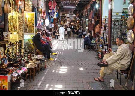 Souk market in Marrakech, Morocco - Stock Photo