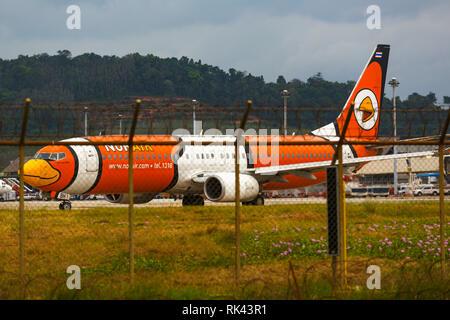 Aircraft Nok Air on the runway - Stock Photo
