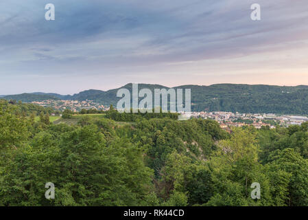 Southern Switzerland, Canton of Ticino. Chiasso town at sunset - Stock Photo