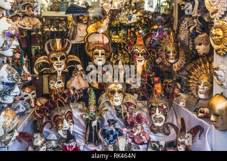 VENICE, ITALY - FEBRUARY 10 2018: Typical and colorful Venetian masks shop - Stock Photo