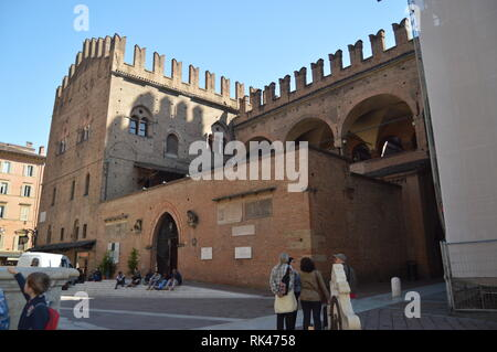 Main Facade Of Enzo Palace Medieval Building In Piazza Maggiore In Bologna. Travel, holidays, architecture. March 31, 2015. Bologna, Emilia Romagna, I - Stock Photo