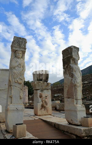 The Heracles Gate in the ancient city of Ephesus was built in the 4th century BC and is only a gateway to the nobles of the city. At 2nd century BC. - Stock Photo