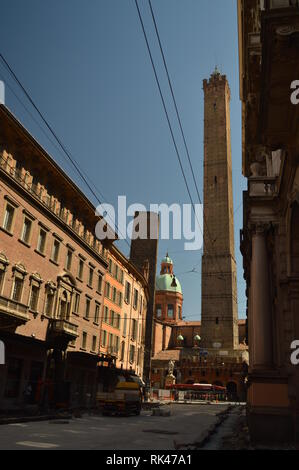 Bologna Towers Of Asinelli At The End Of Rizzoli Street In Bologna. Travel, holidays, architecture. March 31, 2015. Bologna, Emilia Romagna, Italy. - Stock Photo