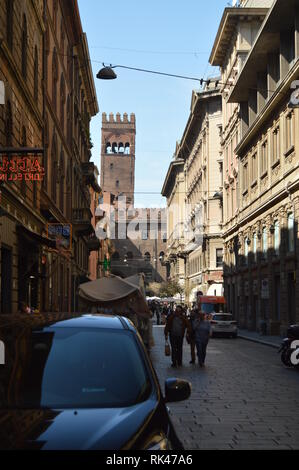 Palazzo De Enzo Seen From Caprarie Street In Bologna. Travel, holidays, architecture. March 31, 2015. Bologna, Emilia Romagna, Italy. - Stock Photo