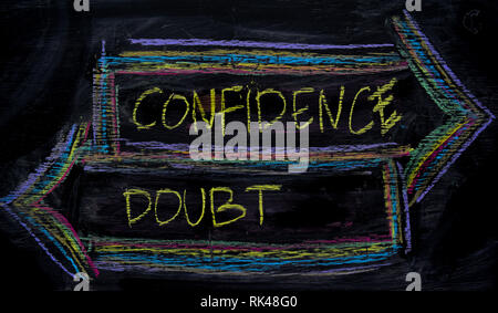 Confidence or Doubt written with color chalk concept on the blackboard - Stock Photo
