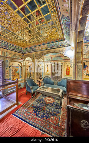 interior shot of ornated and decorated Kothari Patwa Haveli, Jaisalmer, Rajasthan, India