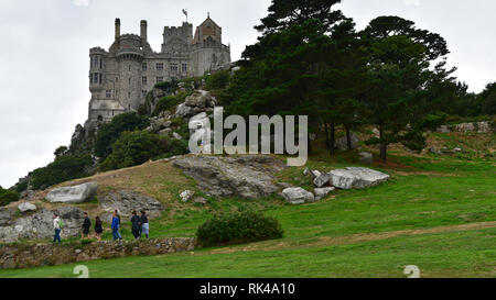 St Michael's Mount - View of the castle from the gardens - Stock Photo