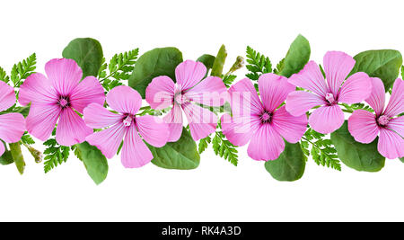 Pink flowers and green leaves line arrangement isolated on white. Seamless pattern. - Stock Photo