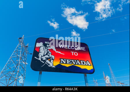 Welcome to Nevada Road Sign, on the border of U.S. States Nevada and Arizona - Stock Photo