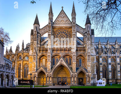 London, England / United Kingdom - 2019/01/28: Northern entrance to the royal Westminster Abbey, formally Collegiate Church of St. Peter at Westminste - Stock Photo