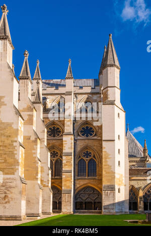 London, England / United Kingdom - 2019/01/28: Inner courtyard of the royal Westminster Abbey, formally Collegiate Church of St. Peter at Westminster  - Stock Photo
