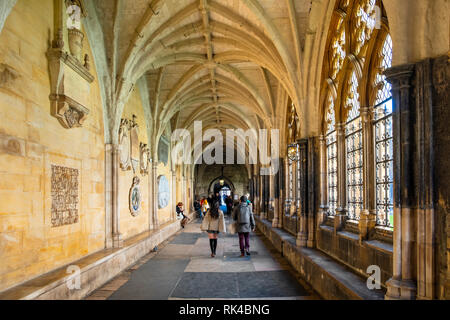 London, England / United Kingdom - 2019/01/28: Cloisters of the royal Westminster Abbey, formally Collegiate Church of St. Peter at Westminster with t - Stock Photo