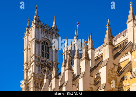 London, England / United Kingdom - 2019/01/28: Gothic tower of the royal Westminster Abbey, formally Collegiate Church of St. Peter at Westminster at  - Stock Photo
