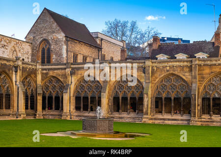 London, England / United Kingdom - 2019/01/28: Cloisters and inner courtyard of the royal Westminster Abbey, formally Collegiate Church of St. Peter a - Stock Photo
